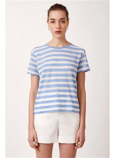 Never More Çizgi İşlemeli T-Shirt Mavi
